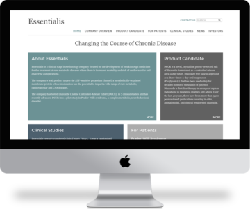 Minimalist web design for Essentialis Therapeutics. #webdesign essentialistherapeutics.com
