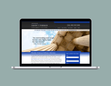 Attorney website design and development built on WordPress.
