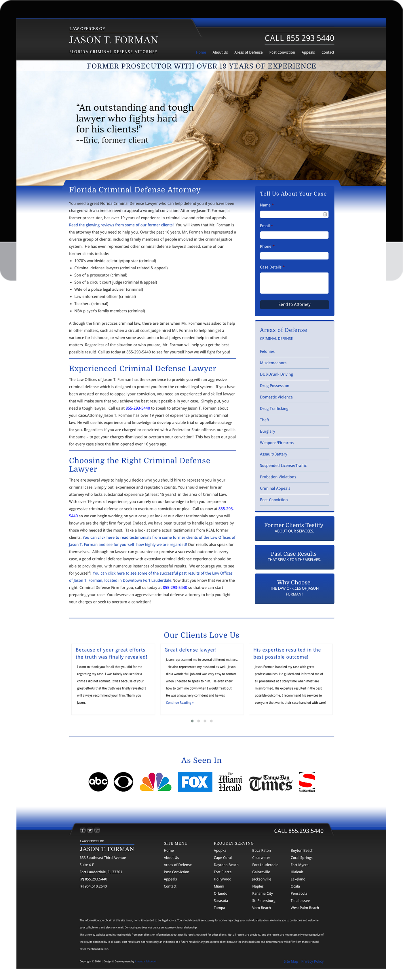 Attorney website design and development built on WordPress.