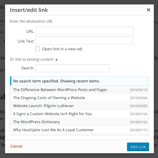Inserting and editing links in the WordPress visual editor