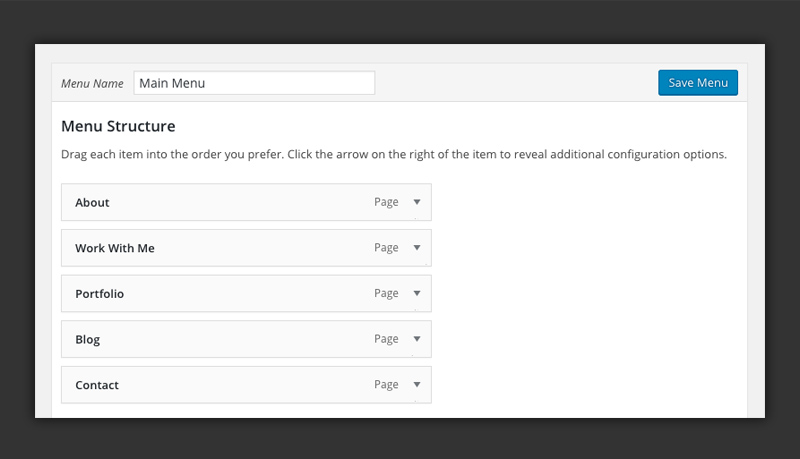 Editing a single WordPress menu