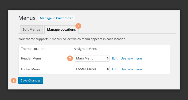 Manage WordPress menu locations