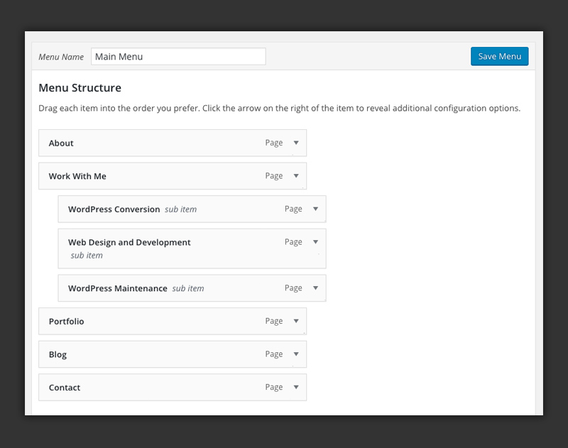 WordPress dropdown menus