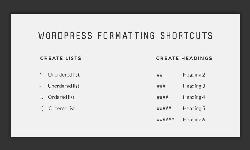 WordPress Formatting Shortcuts