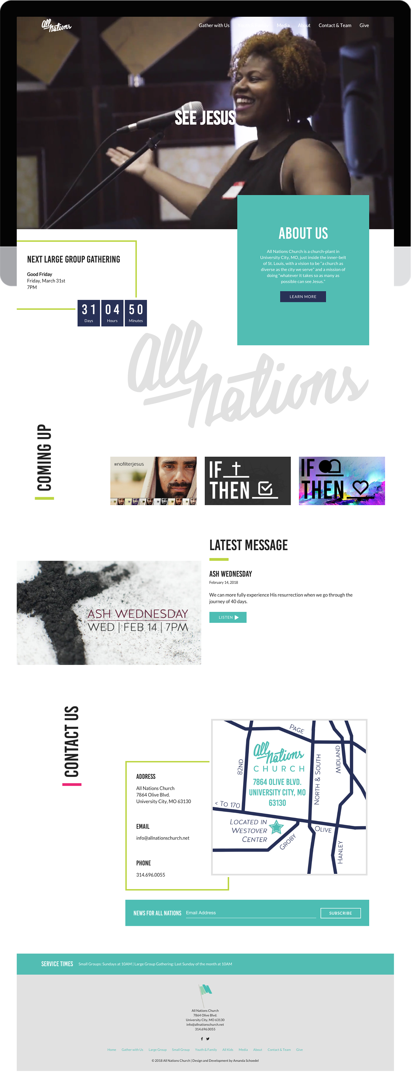 All Nations Church custom WordPress design and development
