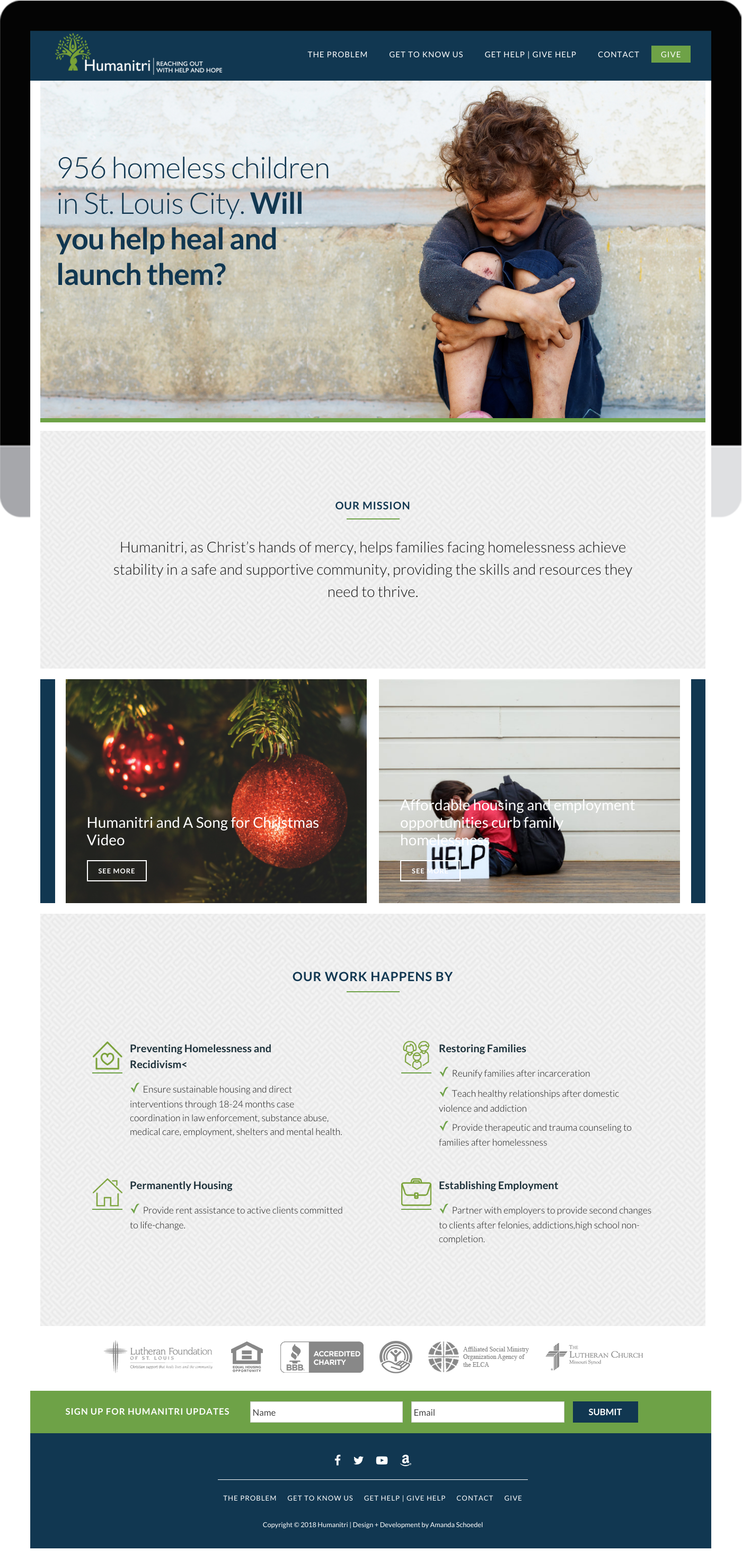 Humanitri custom WordPress design and development